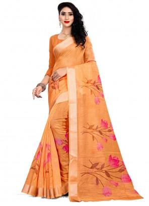 Orange Linen Print Saree