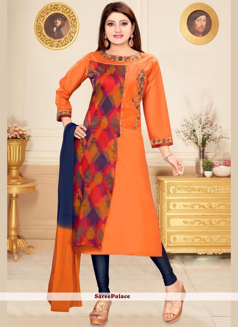 Orange Print Work Chanderi Readymade Suit