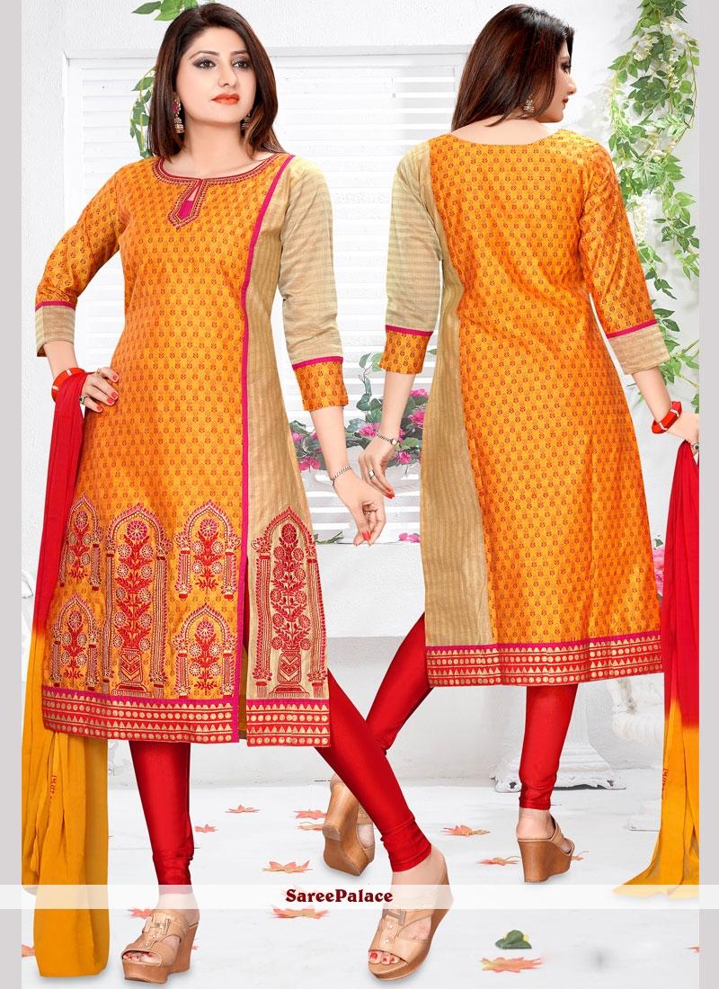 Orange Print Work Readymade Suit