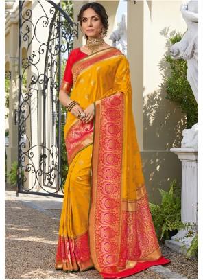 Orange Printed Art Silk Classic Saree