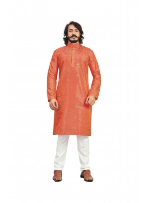 Orange Printed Art Silk Kurta Pyjama