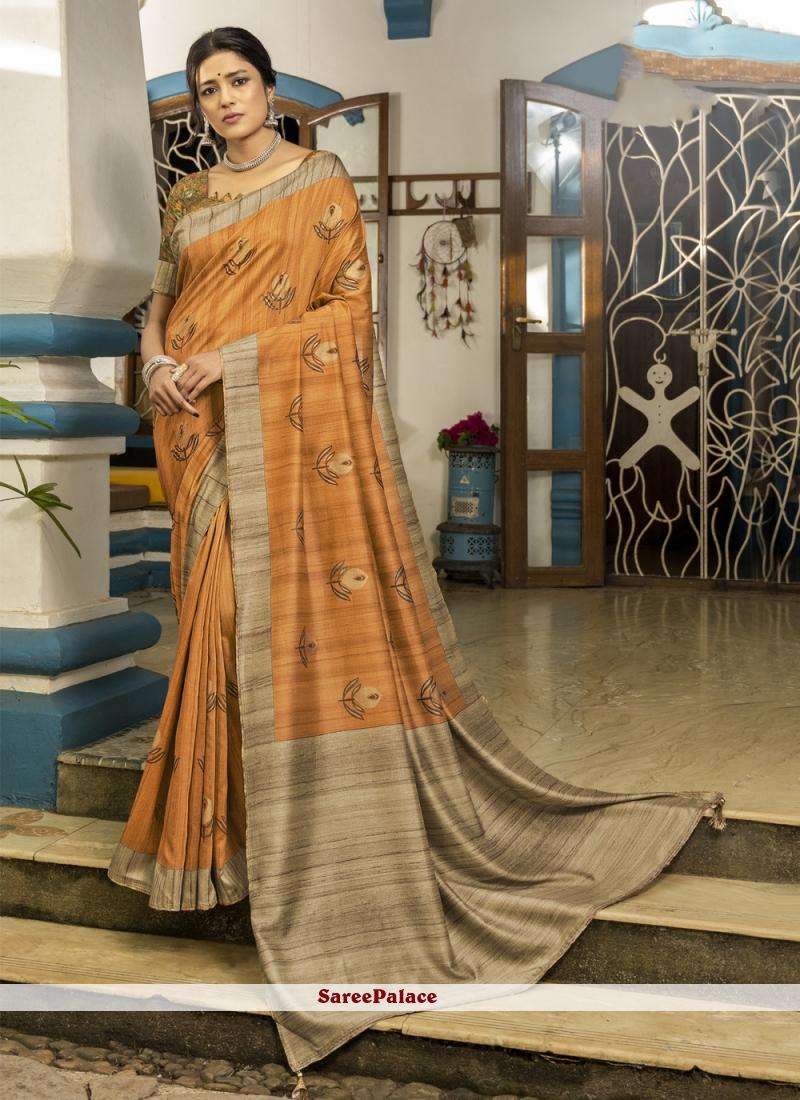 Orange Printed Engagement Designer Traditional Saree
