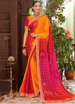Orange Printed Faux Chiffon Classic Saree