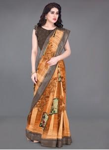 Orange Printed Printed Saree