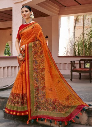 Orange Cotton Printed Saree