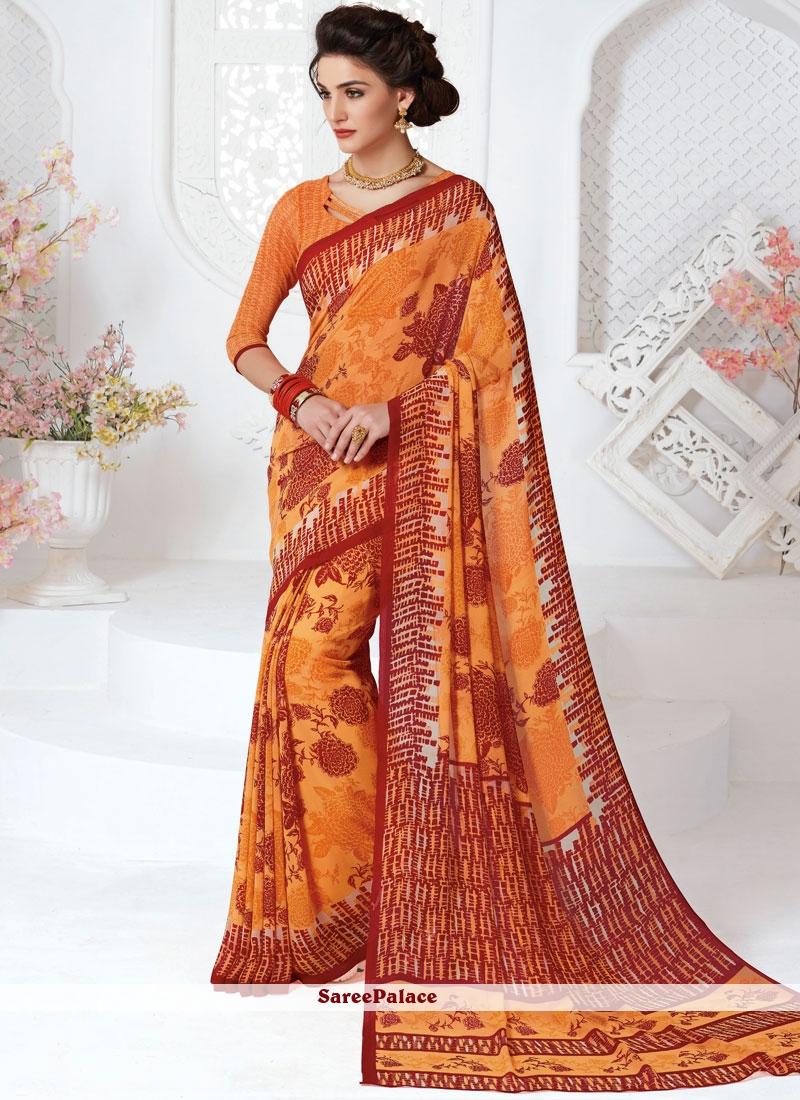 Orange Printed Work Casual Saree