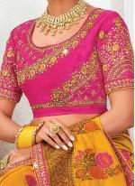 Orange Raw Silk Designer Saree
