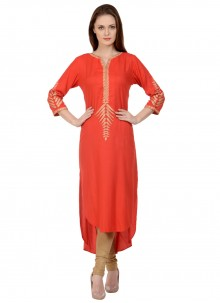 Orange Rayon Embroidered Party Wear Kurti