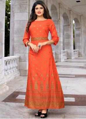Orange Rayon Print Party Wear Kurti