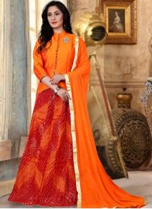 Orange Readymade Lehenga Choli