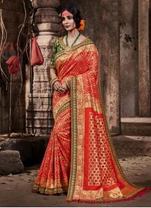 Orange Reception Classic Designer Saree