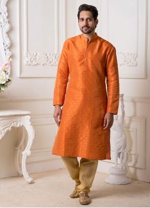 Orange Reception Kurta Pyjama