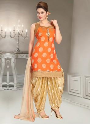 Orange Reception Punjabi Suit