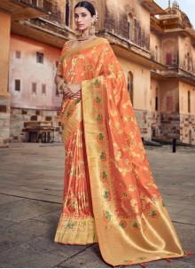 Orange Reception Traditional Designer Saree