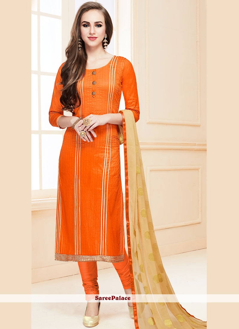 Orange Resham Ceremonial Designer Suit