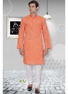 Orange Sangeet Cotton Kurta Pyjama
