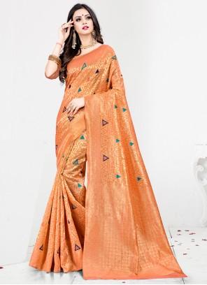 Orange Sangeet Designer Traditional Saree