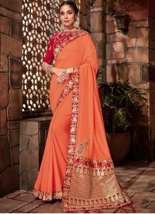 Orange Sangeet Georgette Designer Saree