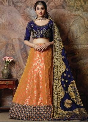 Orange Silk Designer Lehenga Choli