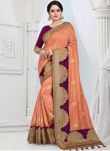Orange Silk Designer Saree