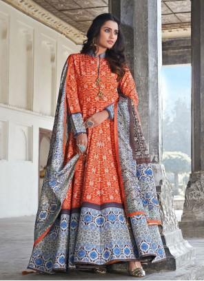 Orange Silk Digital Print Readymade Anarkali Suit