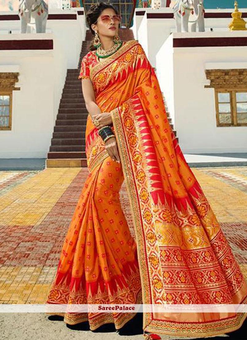 Orange Silk Embroidered Designer Traditional Saree