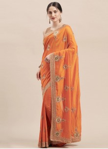 Orange Silk Festival Classic Designer Saree