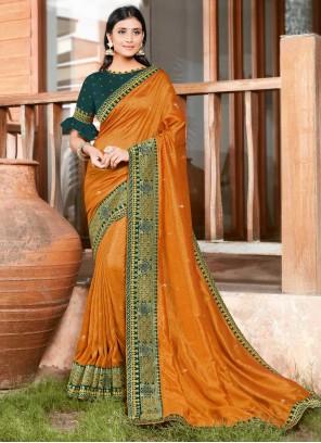 Orange Silk Festival Classic Designer Saree