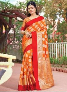 Orange Silk Festival Designer Saree