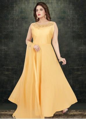 Orange Silk Readymade Salwar Suit