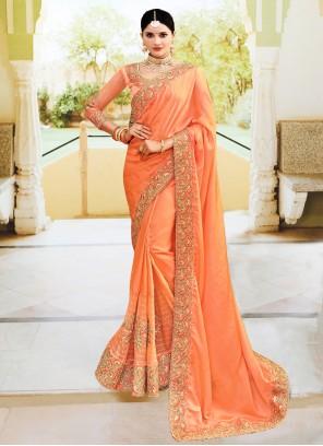 Orange Silk Reception Classic Designer Saree