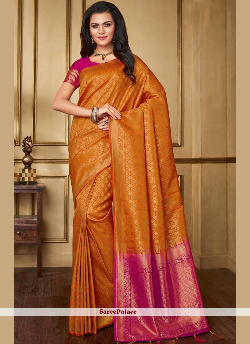 Orange Silk Reception Traditional Saree