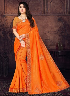 Orange Silk Stone Trendy Saree