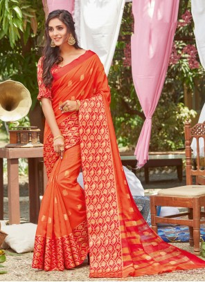 Orange Silk Traditional Designer Saree