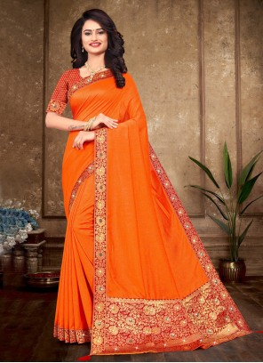 Orange Silk Traditional Saree