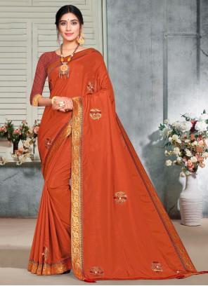 Orange Silk Trendy Saree