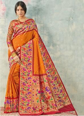 Orange Silk Weaving Classic Saree