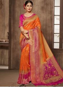 Orange Stone Designer Traditional Saree