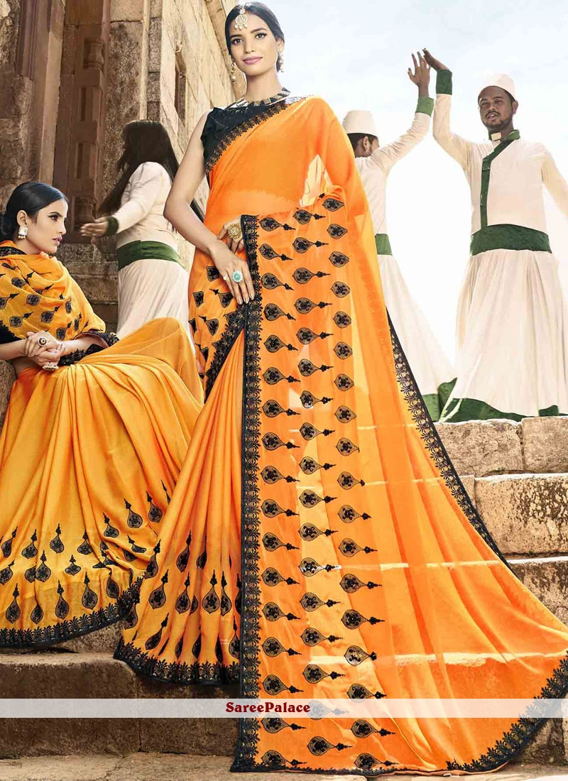 Orange Thread Work Designer Saree