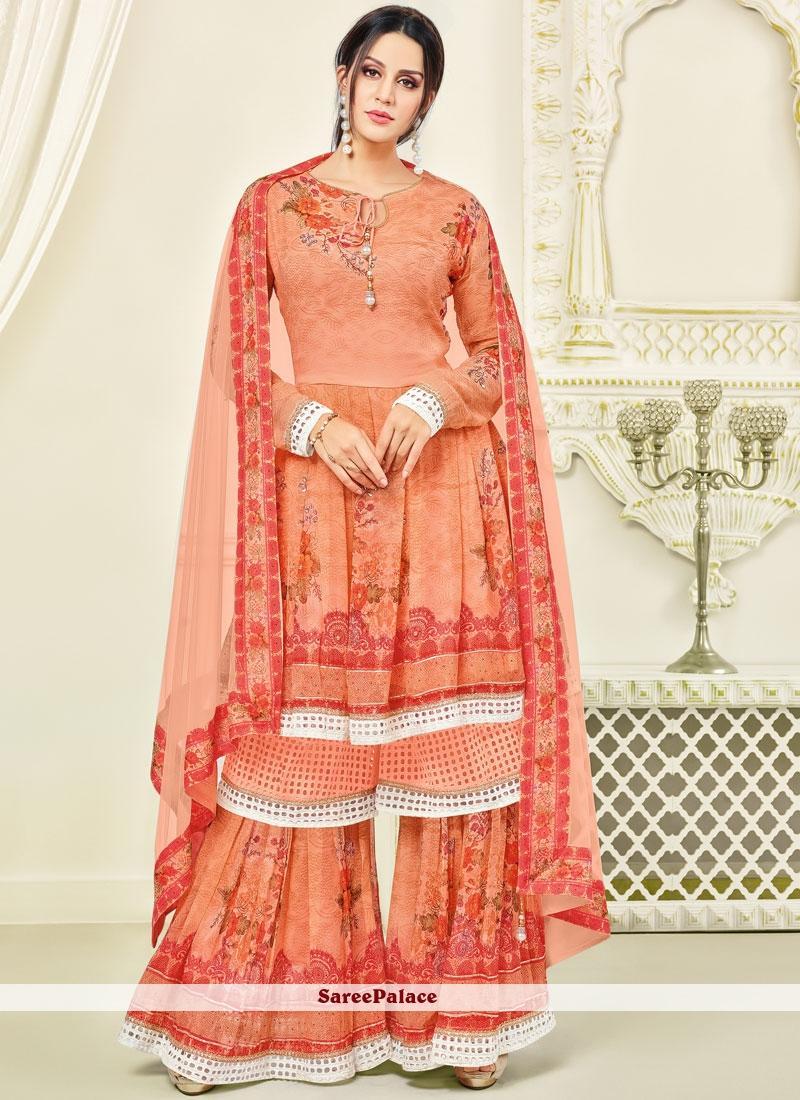 cf6d5552db Buy Orange Thread Work Georgette Palazzo Salwar Kameez Online