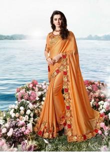 Orange Tissue Classic Designer Saree