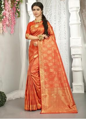 Orange Weaving Zari Traditional Saree