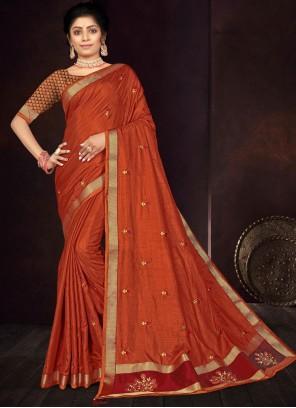Orange Vichitra Silk Traditional Saree