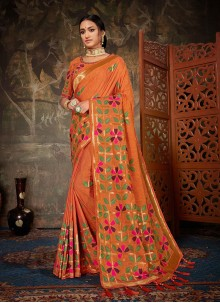 Orange Weaving Art Silk Traditional Designer Saree