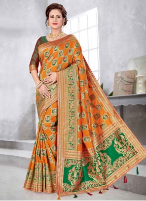 Orange Weaving Art Silk Traditional Designer Saree