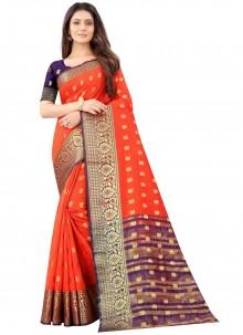 Orange Weaving Art Silk Traditional Saree