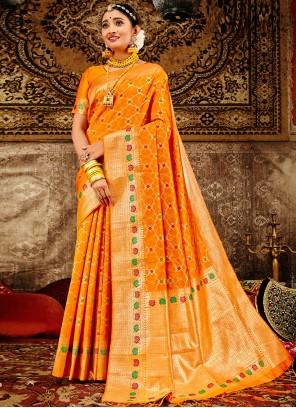 Orange Weaving Banarasi Silk Designer Traditional Saree