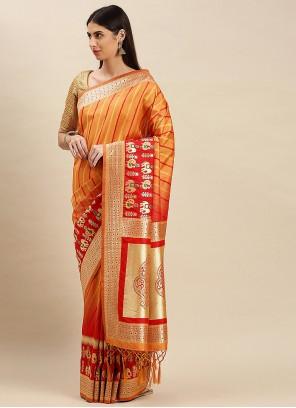 Orange Weaving Banarasi Silk Traditional Saree