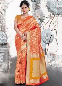 Orange Weaving Bridal Traditional Saree