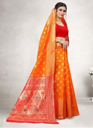 Orange Weaving Jacquard Silk Casual Saree